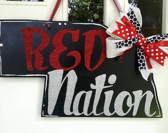 Nebraska 'Red Nation' state door hang