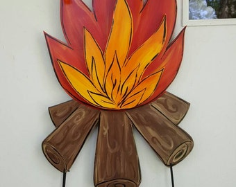 Camp Fire 3D door hang with any saying