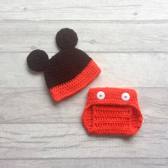 Newborn Mickey Mouse Inspired Crochet Hat   Diaper Cover Set  3b8320c66fd