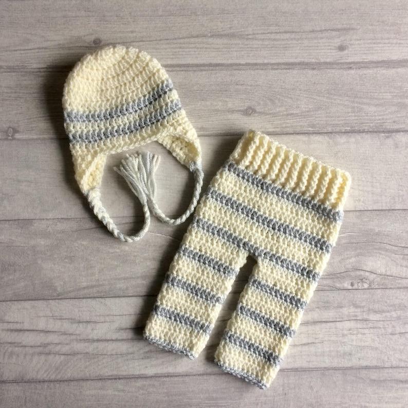 Newborn Crochet Knit Beanie Hat Matching Shorts Set Photo Prop Baby Shower Gift