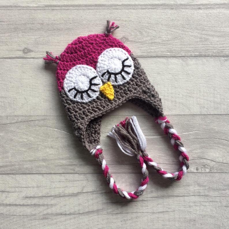 6795f14220d Pink Sleepy Owl Crochet Hat Girls Winter Hat Earflap Hat