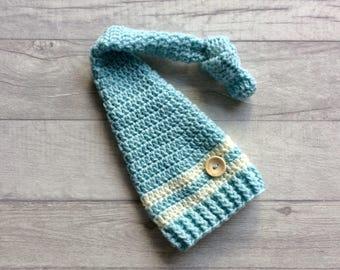 Boys Long Tail Crochet Hat, Elf Hat, Sleepy Hat, Stocking Cap, Wool Hat, Newborn, Baby, Photo Prop, Baby Shower Gift, MADE TO ORDER