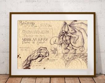 Medium - Balrog - Lord of the rings Art Print