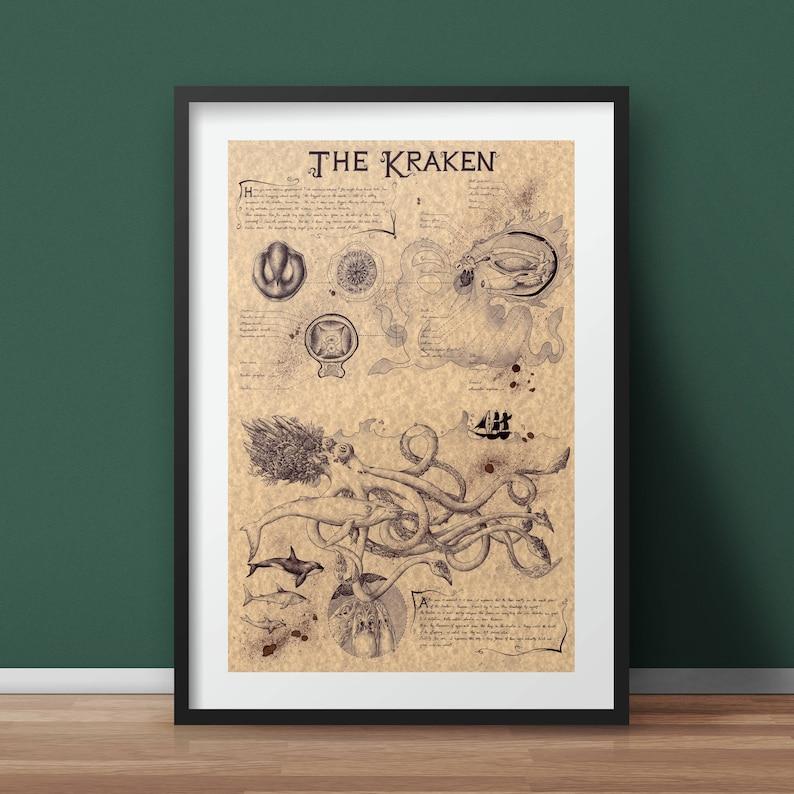 Large  Kraken  Mythology Art Print image 0