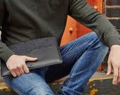 "Slim Fit MacBook 11"" Air Laptop Sleeve Cover Handmade Leather Laptop Case, Black Edition"