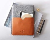 """Leather iPad Pro 9.7"""" Case And Wool Felt Sleeve Case with Apple Pencil Pocket Holder   Handmade Cover   Harber London"""