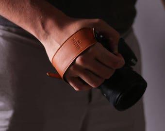 Adjustable Leather Camera Wrist Strap   Leather Camera Grip Strap for DSLR, SLR & vintage cameras.