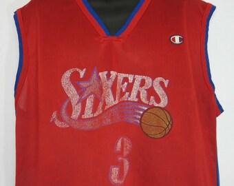 afe71d1563a Vintage Champion NBA Philadelphia Sixers 76ERS Jersey Allen Iverson 3 Size  48