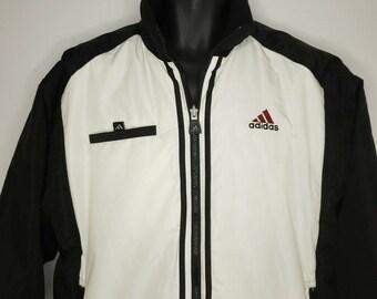 d6a31cddd356 Adidas Vintage 90s Reversible Nylon Fleece Heavy Jacket M Black White Taiwan