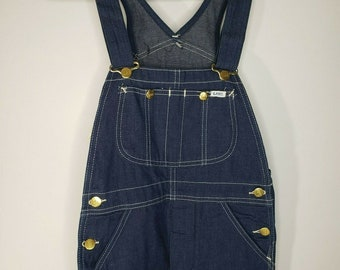 dfad2de9493 Vintage 70s Lee Jeans Bib Overalls Small Deadstock 26 x 30 Dark Selvedge USA