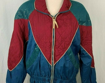 Vintage Seersucker Woman/'s Zippered Pocketed Jacket with Embroidered Flowers on the Pockets Small