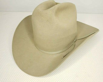 d02870ce75651 Vintage Resistol Western Self Conforming Cowboy Hat 6 5 8 Beige Hand Creased