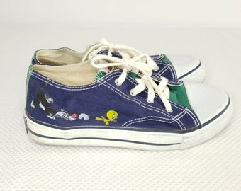 f0bd3499429d Vintage 90s Looney Tunes Canvas Sneakers Shoes Sylvestor Tweety 6.5 Blue  Green