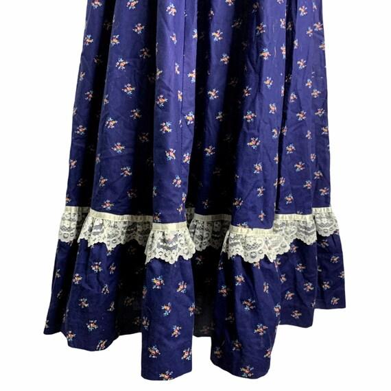 Vintage Gunne Sax Calico Prairie Dress S Blue Sun… - image 4