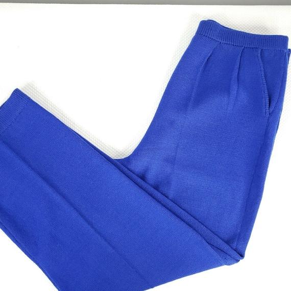 Vintage 80s St John Santana Knit Cobalt Blue Swea… - image 1