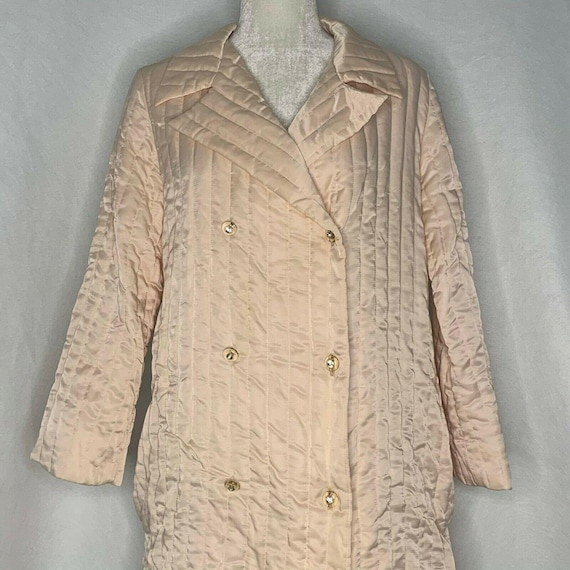Vintage 60s Quilted Silk Satin Housecoat Robe S Pe