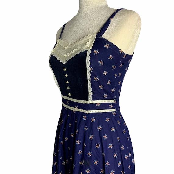 Vintage Gunne Sax Calico Prairie Dress S Blue Sun… - image 6