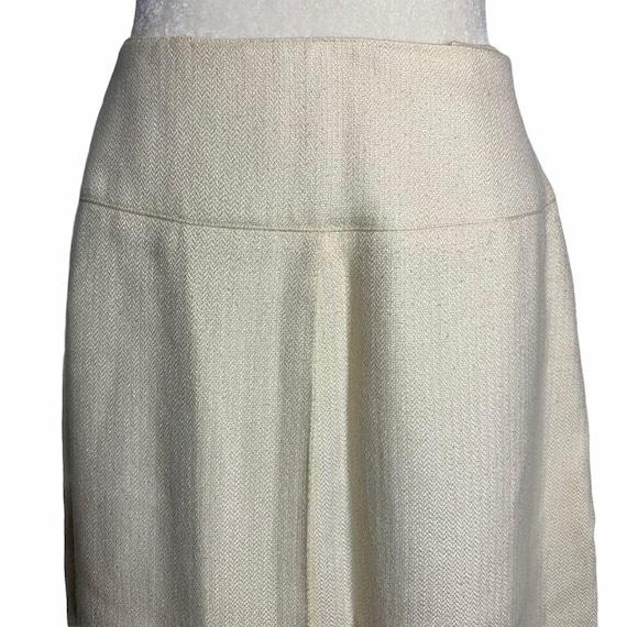 Vintage 70s Pleat Front Midi Skirt M Ivory Lined … - image 2