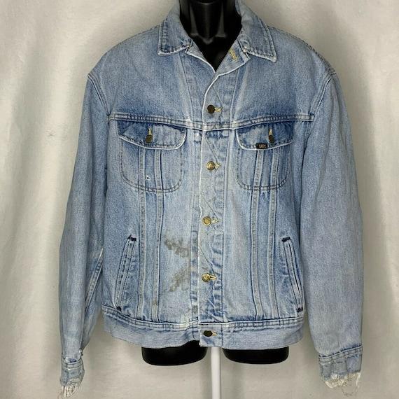 Vintage 60s Lee Denim Jacket L Light Wash Distress