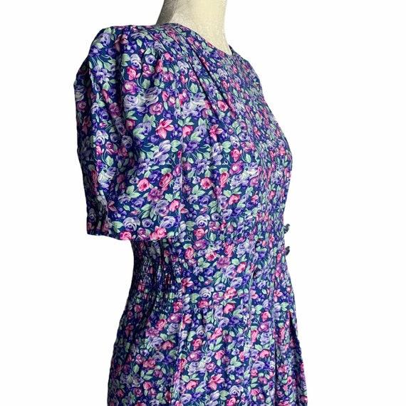 Vintage Floral Pleated Midi Dress 4 Blue Cottagec… - image 6