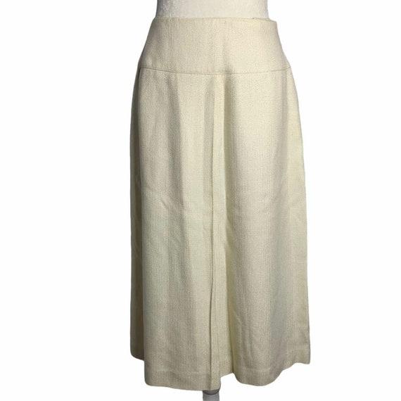 Vintage 70s Pleat Front Midi Skirt M Ivory Lined … - image 1
