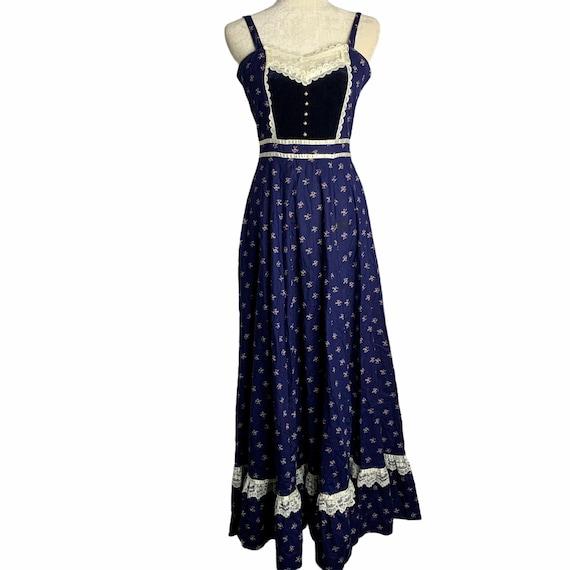 Vintage Gunne Sax Calico Prairie Dress S Blue Sun… - image 1