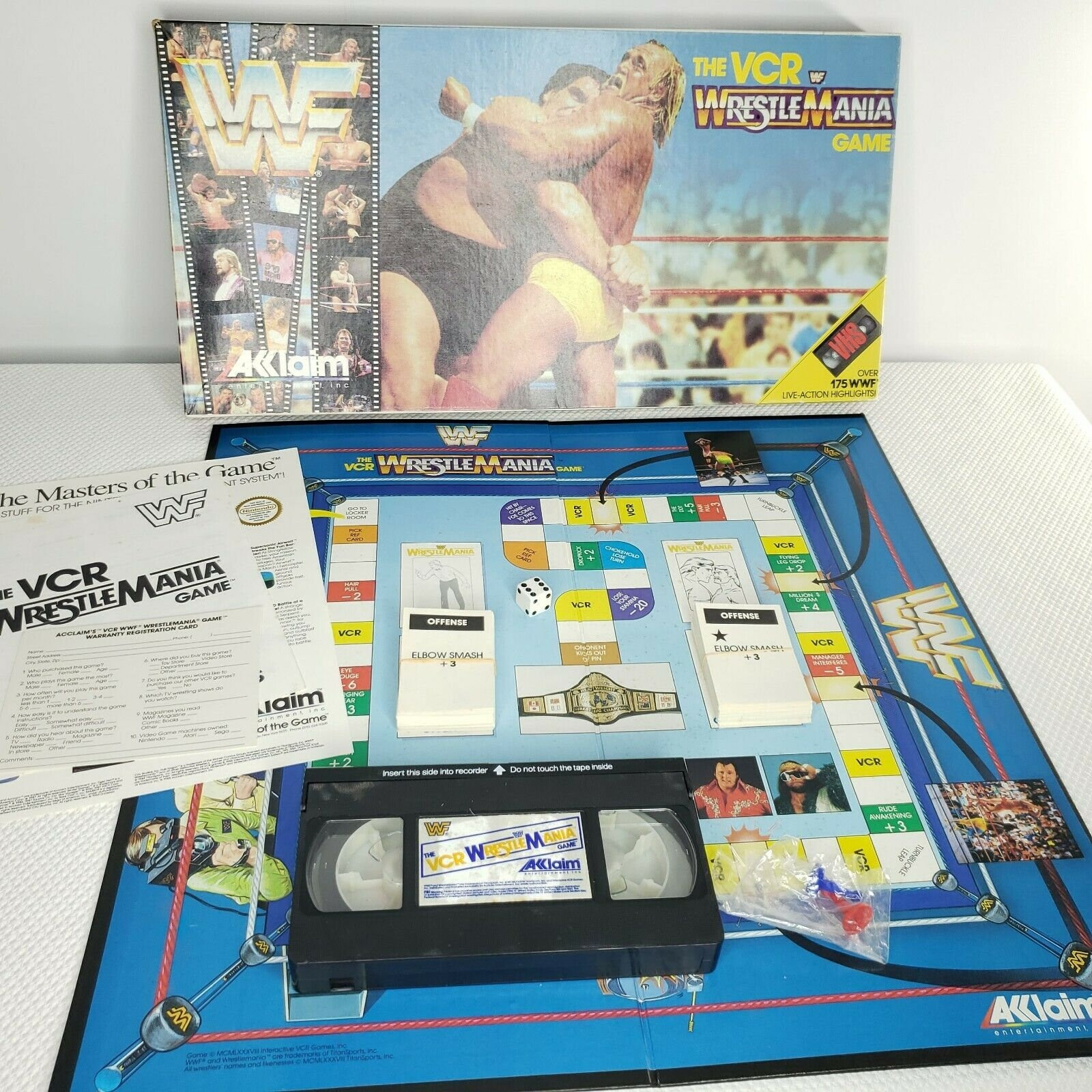 WWF The VCR WrestleMania Board Game Acclaim 1988 Complete Vintage Hulk Andre