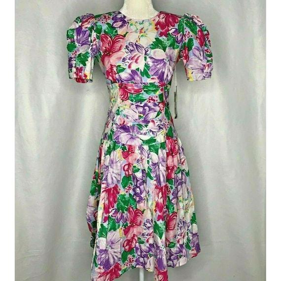 SM Shoulder Pad Purple /& Black Floral Print Dress Vintage 1980s Pleated Party Dress