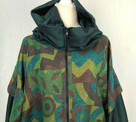 Vintage Kaos Andy Johns Abstract Windbreaker Jacke