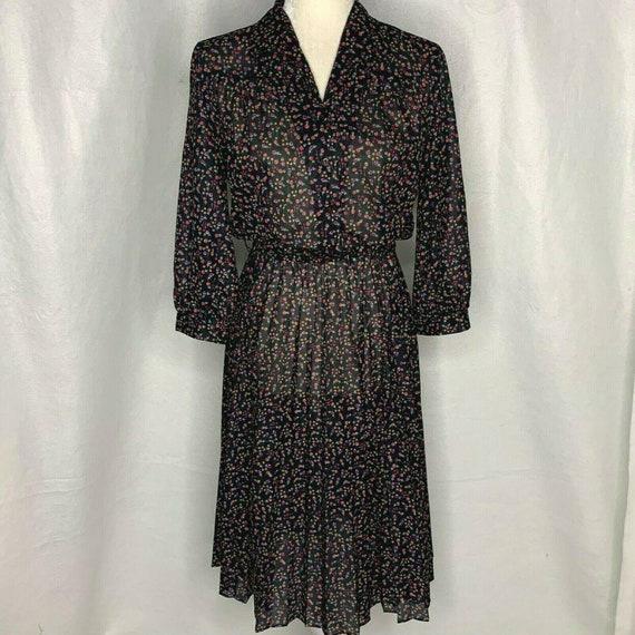 Vintage Floral Shirt Dress M Black Collared Button