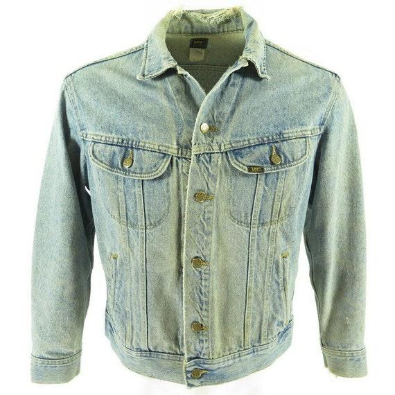 Vintage 80s Lee Denim Trucker Jacket M Med Wash Di