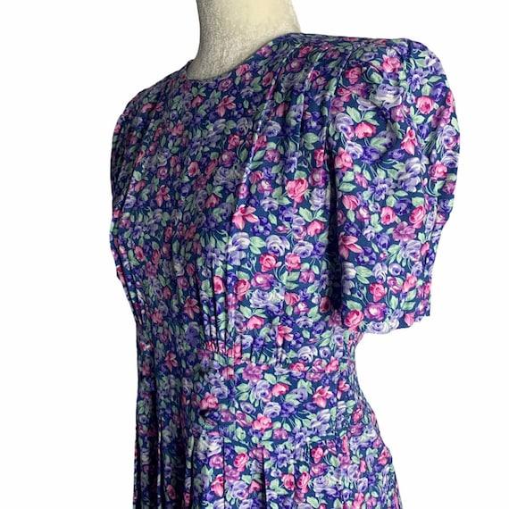 Vintage Floral Pleated Midi Dress 4 Blue Cottagec… - image 4