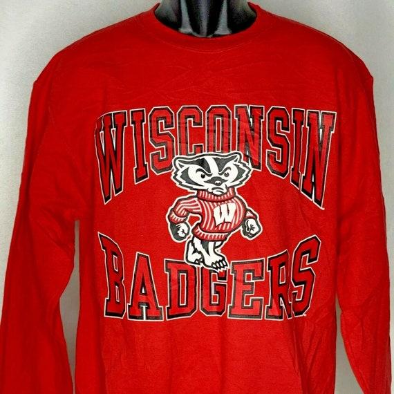 Champion Wisconsin Badgers Sweatshirt M Red Eco Fl