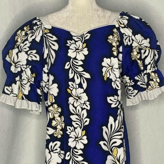 Vintage 80s Hawaiian Dress XL Blue Hibiscus Aloha