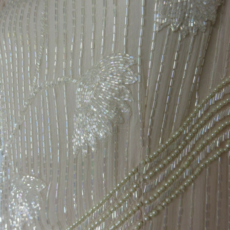 Vintage Judith Ann Dress Silk Beaded Mini Pearls Soft Peach XS