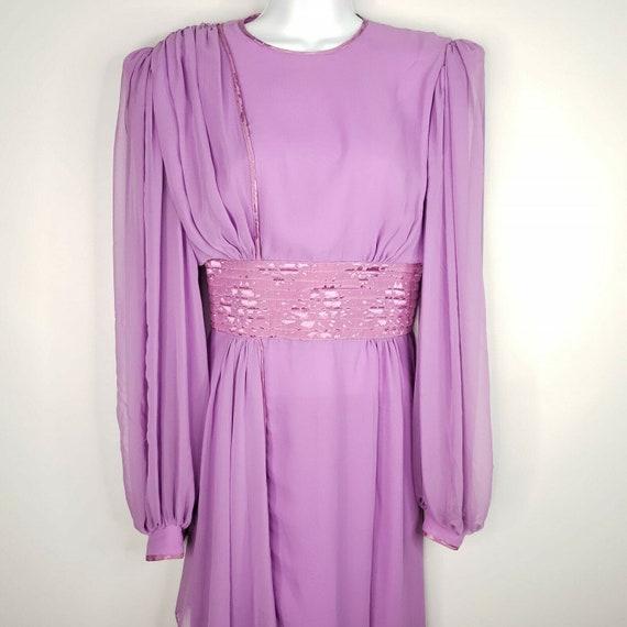Vintage 70s Wayne Clark Sheer Purple Open Back Dra