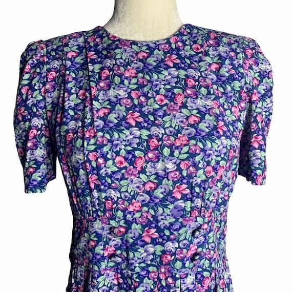 Vintage Floral Pleated Midi Dress 4 Blue Cottagec… - image 2