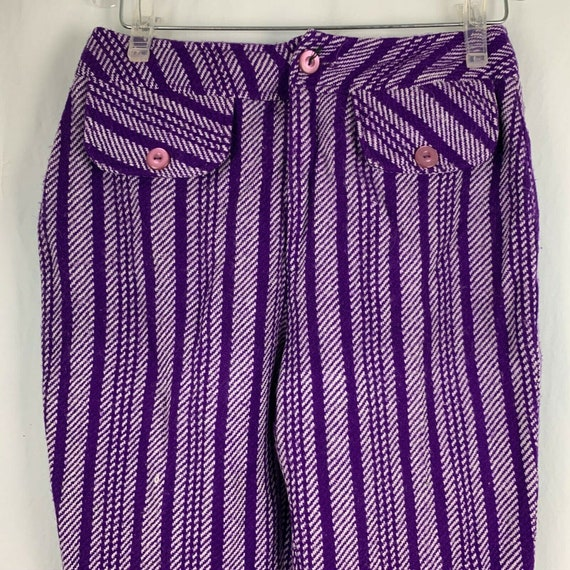 Vintage 70s Miss Holly Woven Knit Pants 8 Purple … - image 1