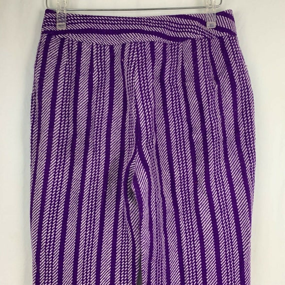 Vintage 70s Miss Holly Woven Knit Pants 8 Purple … - image 4