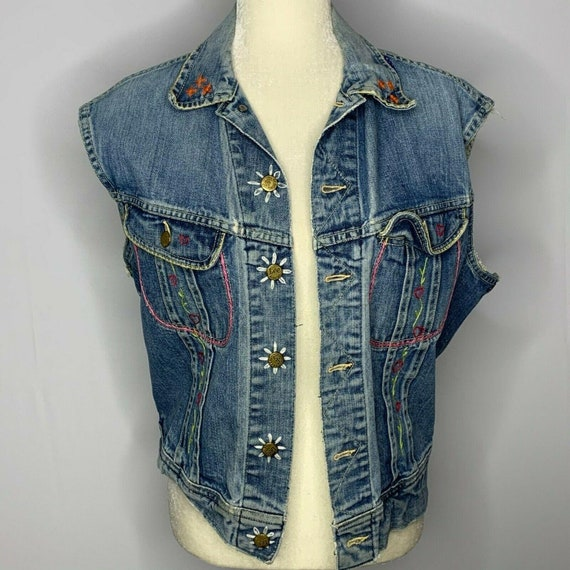 Vintage 50s Lee 101-J Denim Vest L Med Wash Hand E