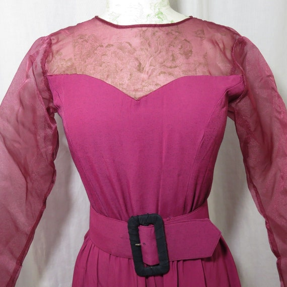 Vintage Raspberry Red Pink Dress M Full Skirt Long