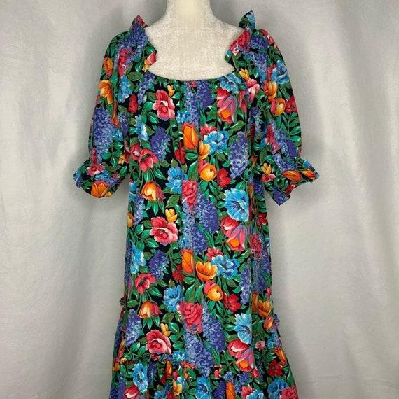Vintage 80s Hilo Hattie Hawaiian Dress XL Black Fl