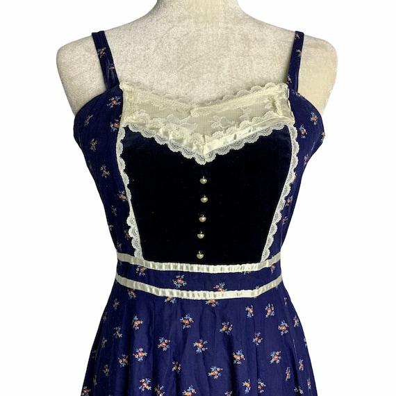 Vintage Gunne Sax Calico Prairie Dress S Blue Sun… - image 2