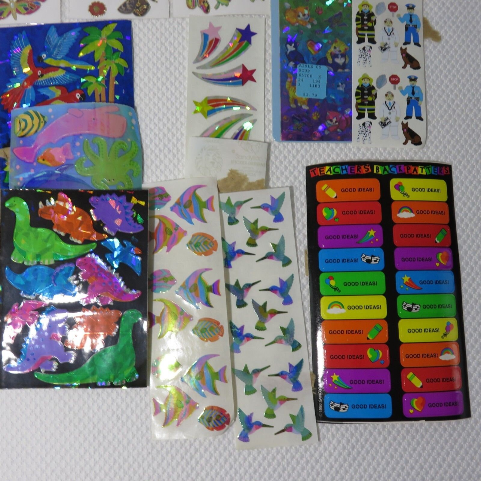 Aisl Shooting vintage lot rainbow crystal stickers sandylion lisa frank mrs grossmans  teacher