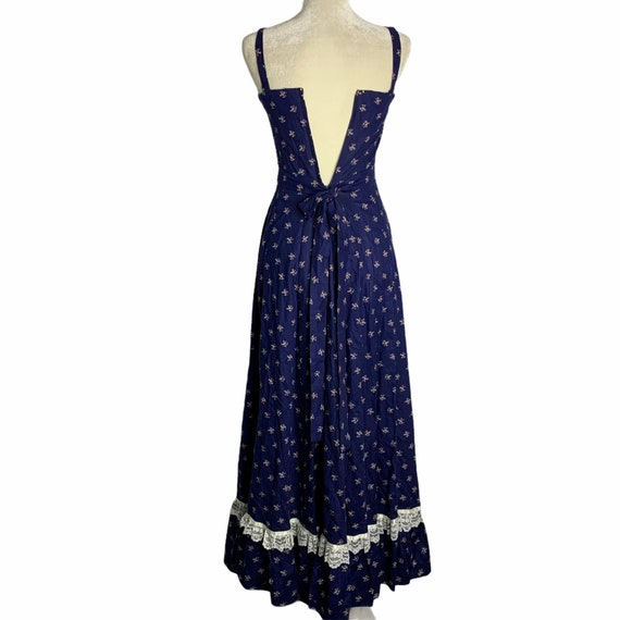 Vintage Gunne Sax Calico Prairie Dress S Blue Sun… - image 8