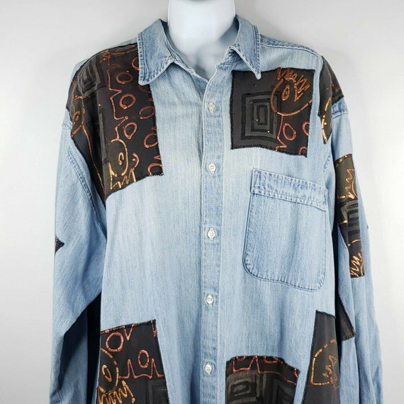Vintage 90s Womens L Denim Blue Jean Shirt Oversiz