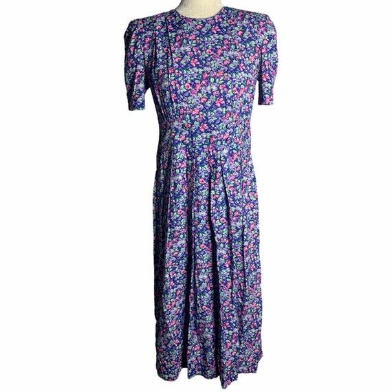 Vintage Floral Pleated Midi Dress 4 Blue Cottagec… - image 1
