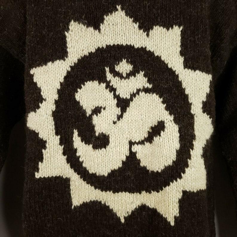 Vintage 90s Does 70s Brown Beige Hand Knit Wool Sweater L Om Symbol Sun Namaste