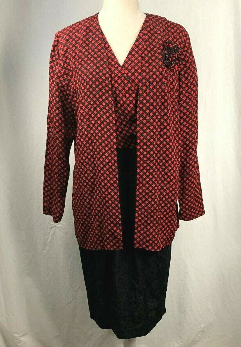 Vintage Jane Singer Dress M Cardigan Set Black Red Wrap Top Midi Flower