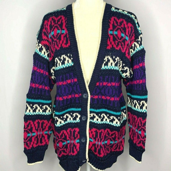 Vintage Chunky Knit Cardigan Sweater M Multicolore